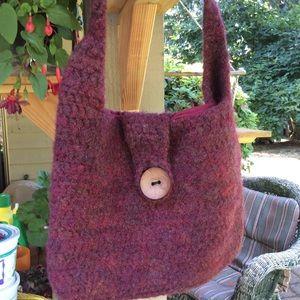 Handbags - Wool felt shoulder bag red totally lined. Button